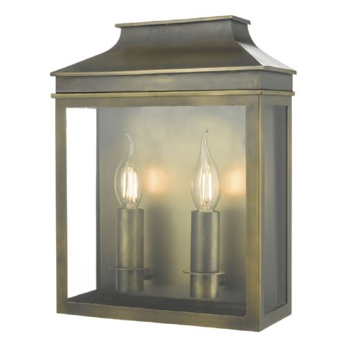 Vapour 2 Light Coach Lantern Weathered Brass IP44  VAP5045